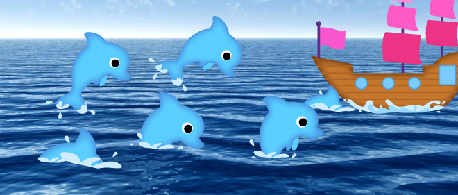 Dolphins chasing ship