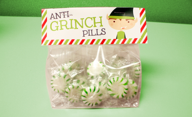 Anti Grinch Pills free printable label is a perfect Christmas favor idea