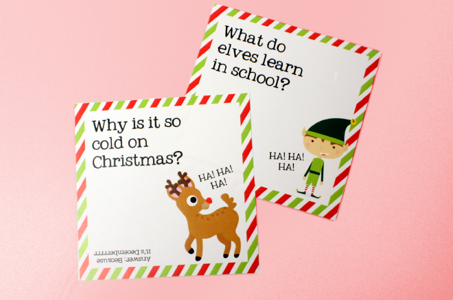Free printable Christmas jokes for kids on the charm it spot blog