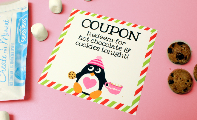 Free printable hot chocolate coupon for kids on www.thecharmitspot.com