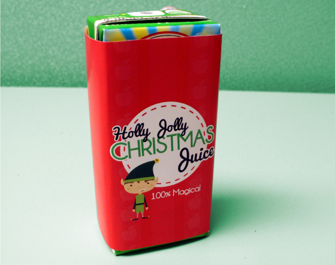 Our Holly jolly Christmas juice box printable is a fun Christmas  idea for kids