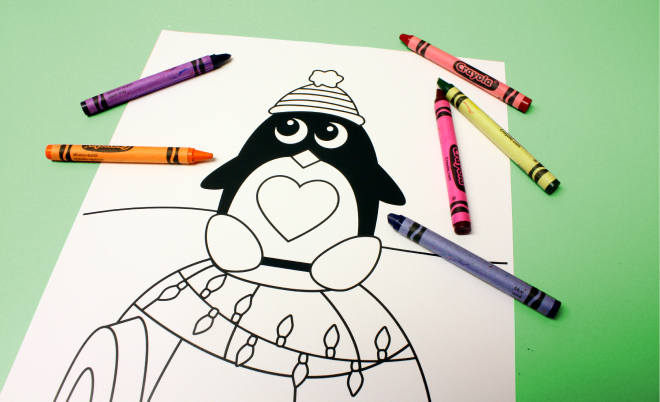 Christmas coloring page featuring a CHARM IT! Penguin on www.thecharmitspot.com