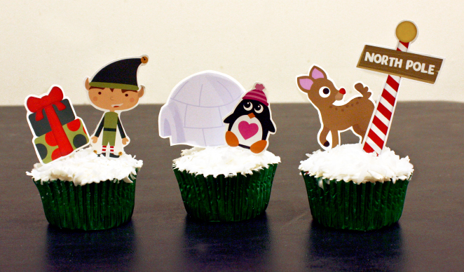 Ice cream cupcake recipe and free printable Christmas cupcake toppers on www.thecharmitspot.com