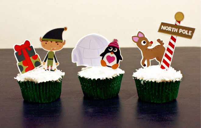 Ice cream cupcakes recipe with free printable Christmas and North Pole cupcake toppers