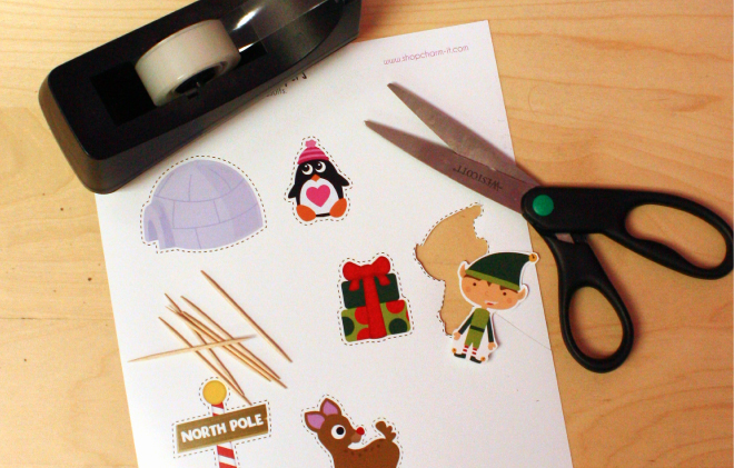 Free printable Christmas, Rudolph, North Pole, Elf and winter cupcake toppers on www.thecharmitspot.com