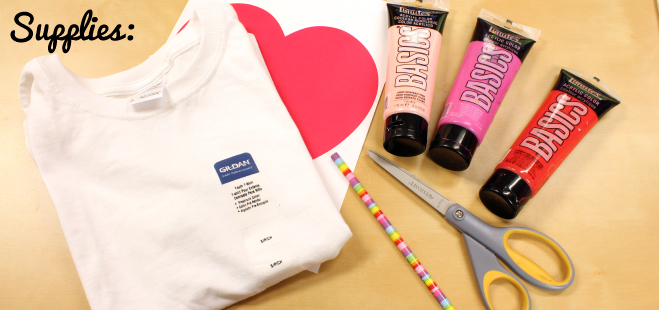 Supplies for DIY Eraser Painted Valentine's Day Heart T-Shirt
