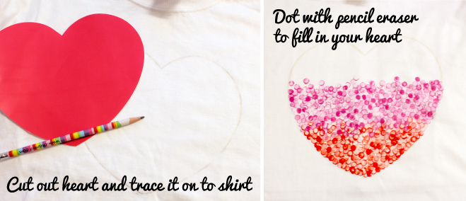 Valentine's Day heart t-shirt steps