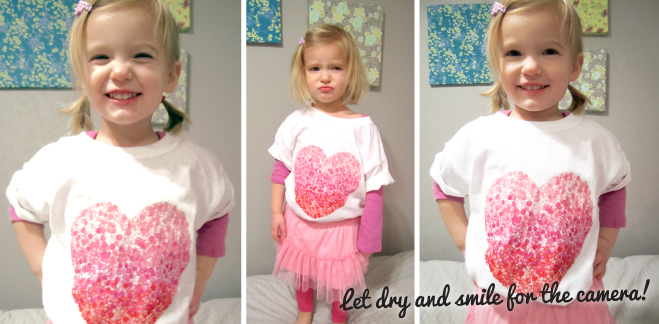 Valentine's Day heart t-shirt painted with an eraser