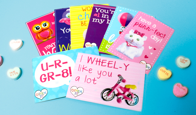 Free printable CHARM IT! Valentine's Day Cards