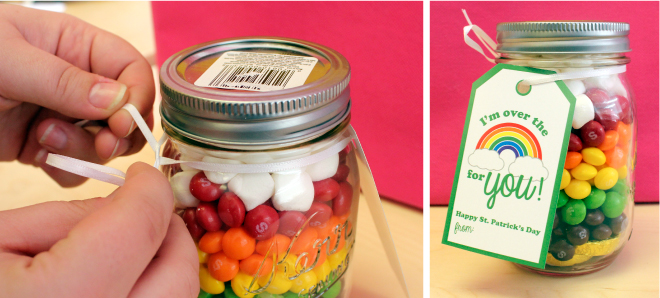 Rainbow mason jar gift with free printable