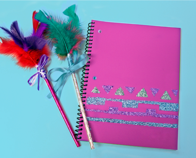 Glitter notebook and feather pencils craft for girls